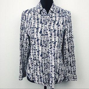 Carole Little LINEN/RAYON beige spring bloom shirt